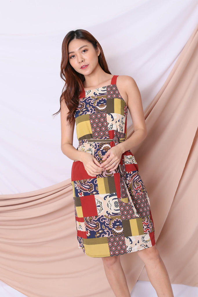 *TPZ* (PREMIUM) SAIGE BOHO PATCHWORK DRESS (WARM)