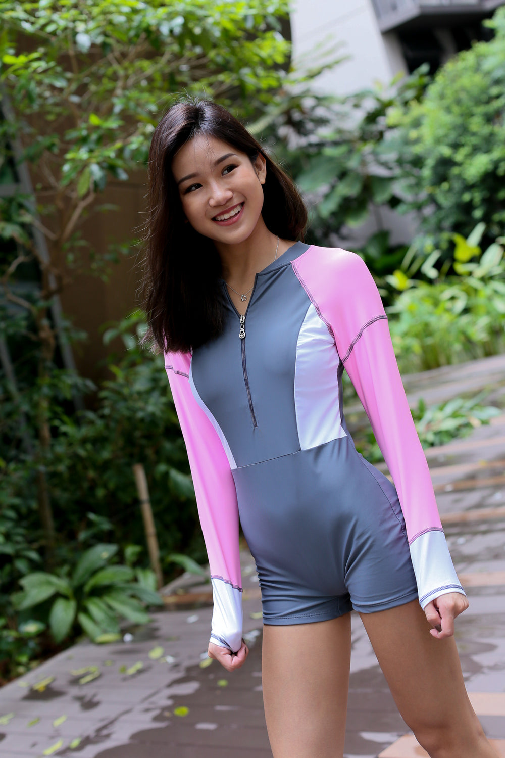 PORTO COLOURBLOCK BODYSUIT (GREY)