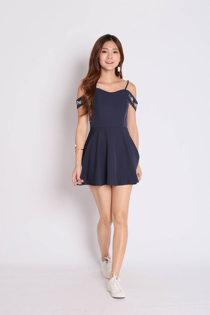 *TPZ* (PREMIUM) KAARI EMBROIDERY DRESS ROMPER IN NAVY