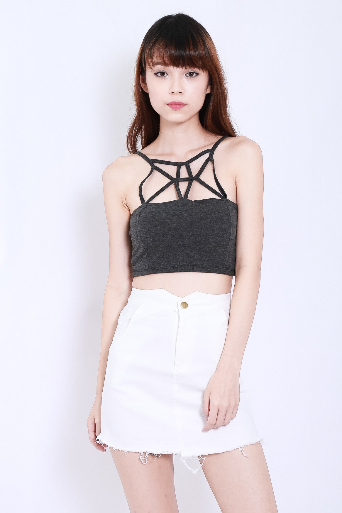 *RESTOCKED* WEBBED CROP TOP IN DARK GREY