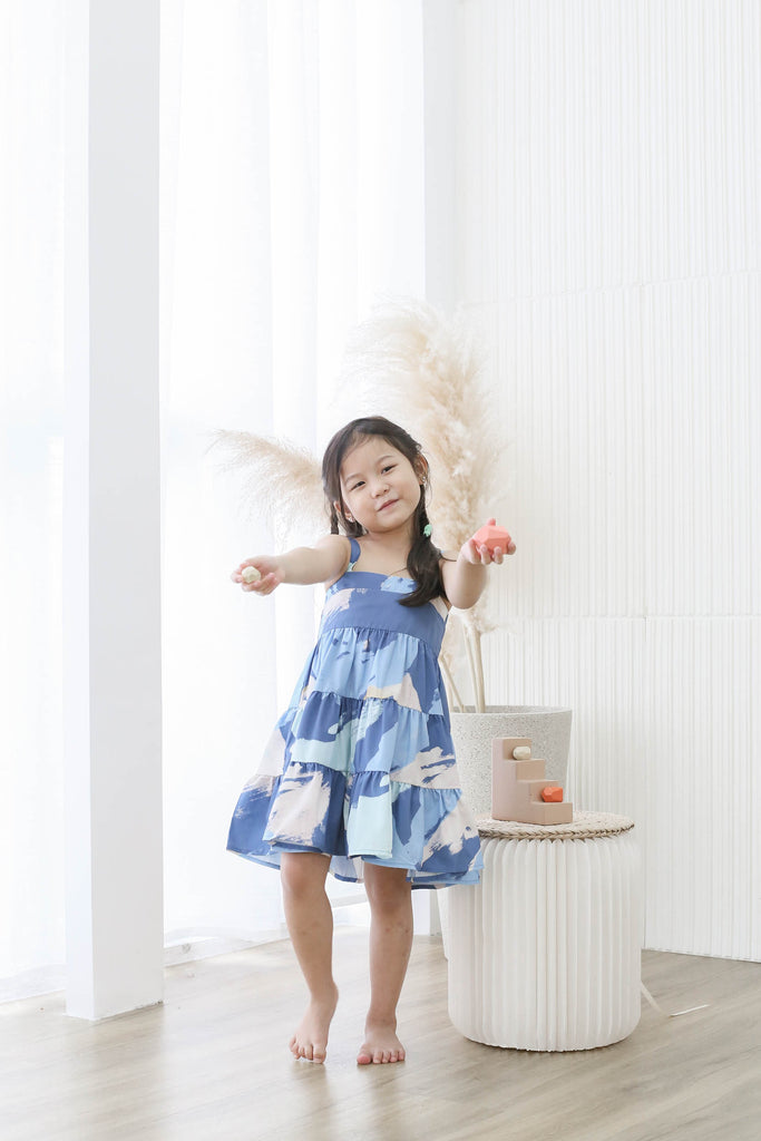 *LITTLE TOPAZETTE* THE WATERCOLOUR ART TIER DRESS IN BLUE