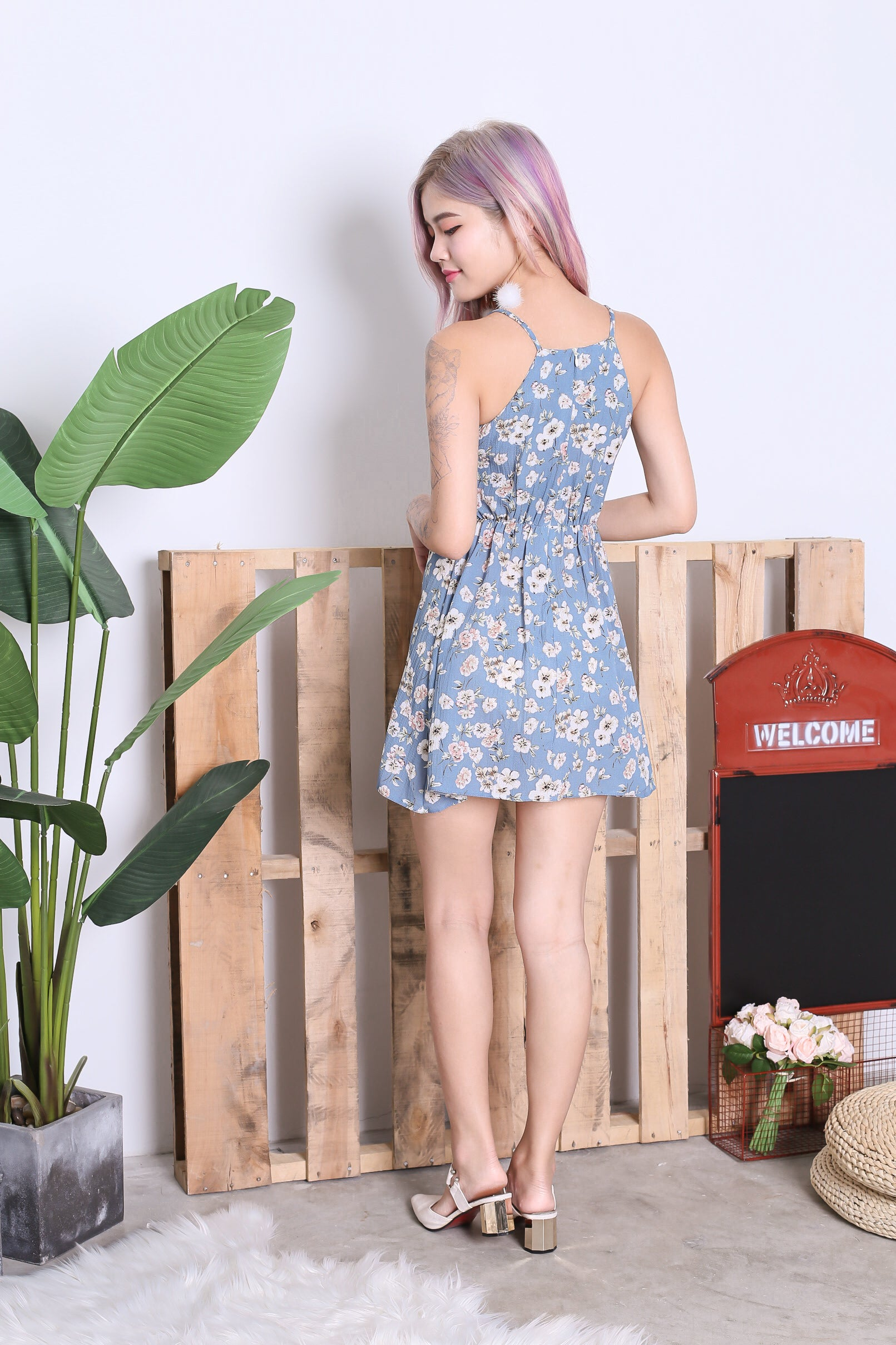 FINOLA FLORAL DRESS IN CORNFLOWER BLUE