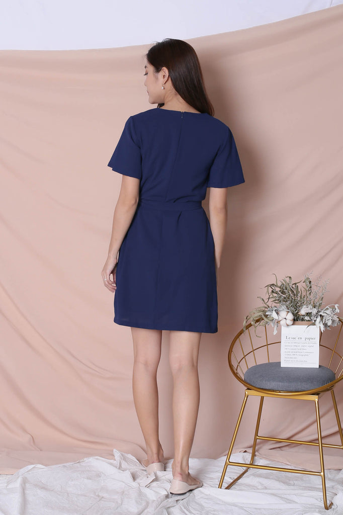 (PREMIUM) GWENVA EMBROIDERY DRESS WITH SASH IN NAVY
