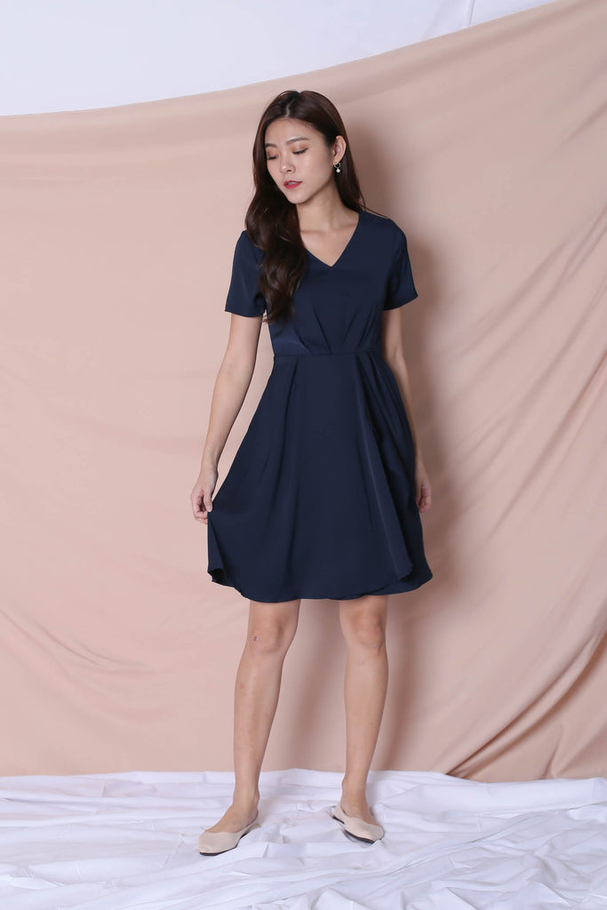 *TPZ* (PREMIUM) TIVIA DRESS IN NAVY - TOPAZETTE