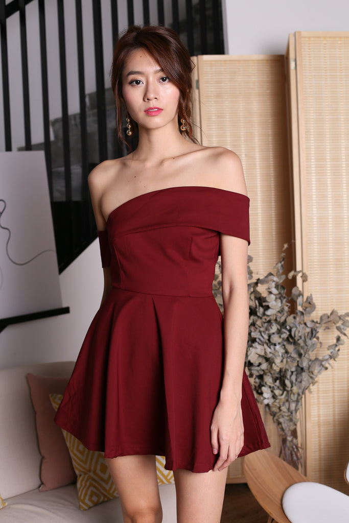 *TOPAZ* (PREMIUM) FATE TOGA DRESS ROMPER IN WINE - TOPAZETTE