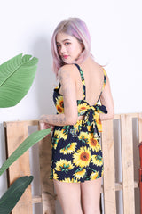 SUNFLOWER TIE BACK 2 PC TOP AND SKORTS SET IN NAVY