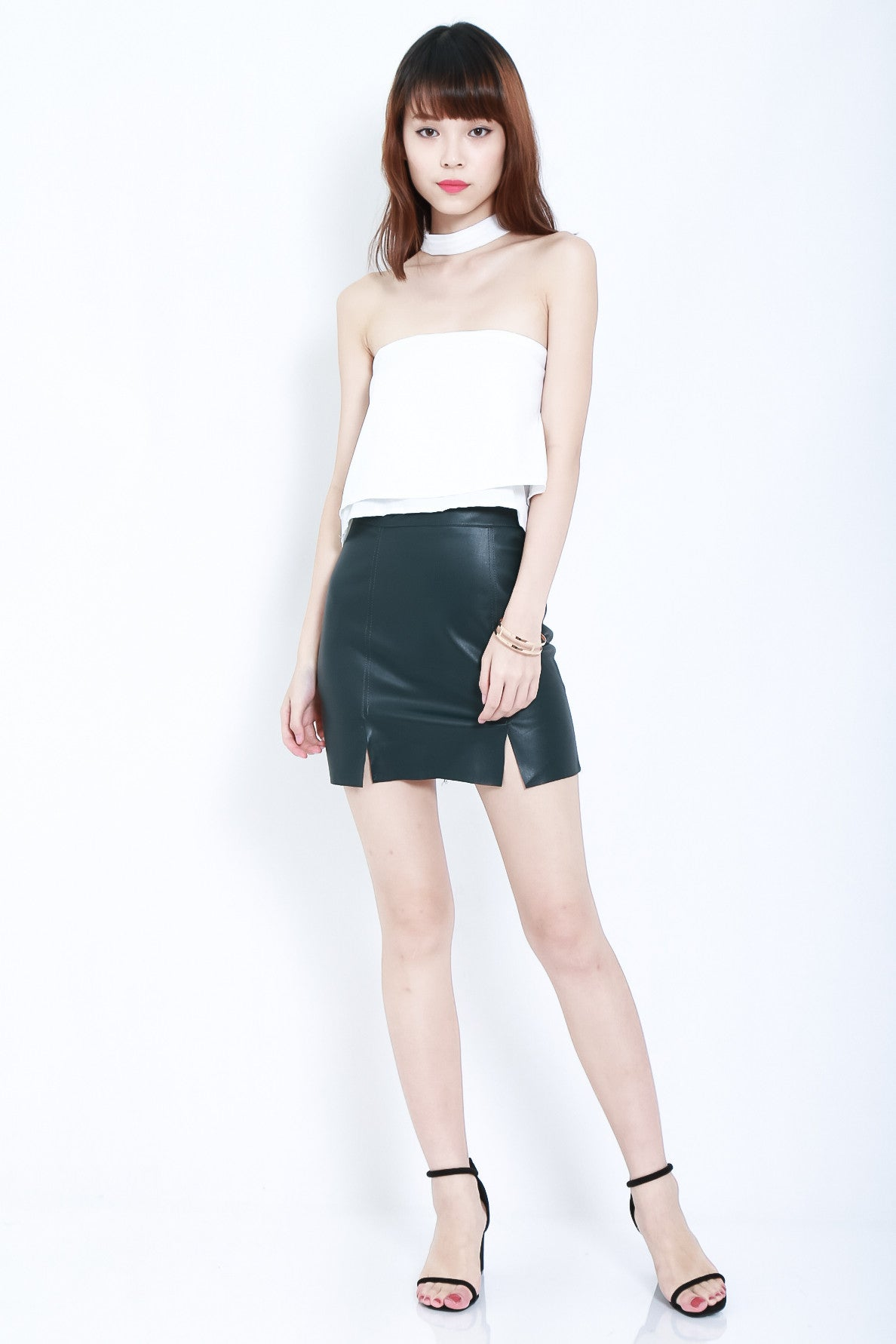 DOUBLE SLIT LEATHER SKIRT IN DARK TEAL - TOPAZETTE