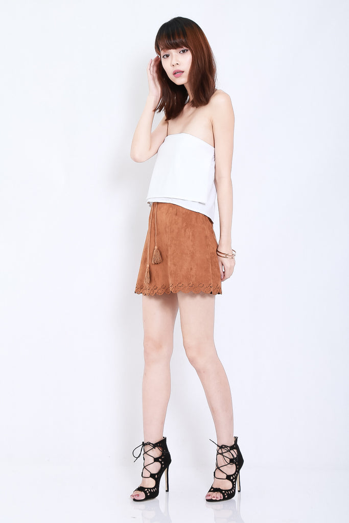 LASERCUT SCALLOP SUEDE SKIRT IN KHAKI