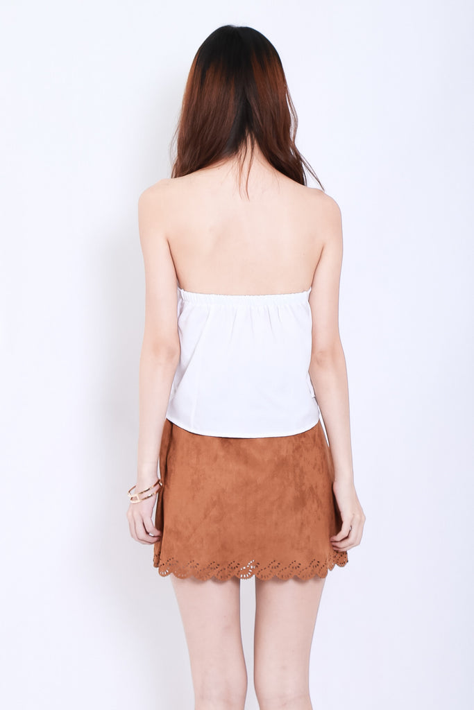 LASERCUT SCALLOP SUEDE SKIRT IN KHAKI - TOPAZETTE