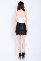 SCALLOP LEATHER SKIRT IN BLACK