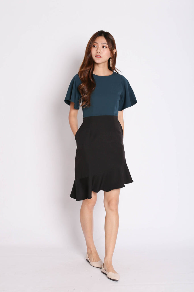 *TPZ* (PREMIUM) SYDNEY COLOURBLOCK MERMAID DRESS (FOREST/ BLACK) - TOPAZETTE