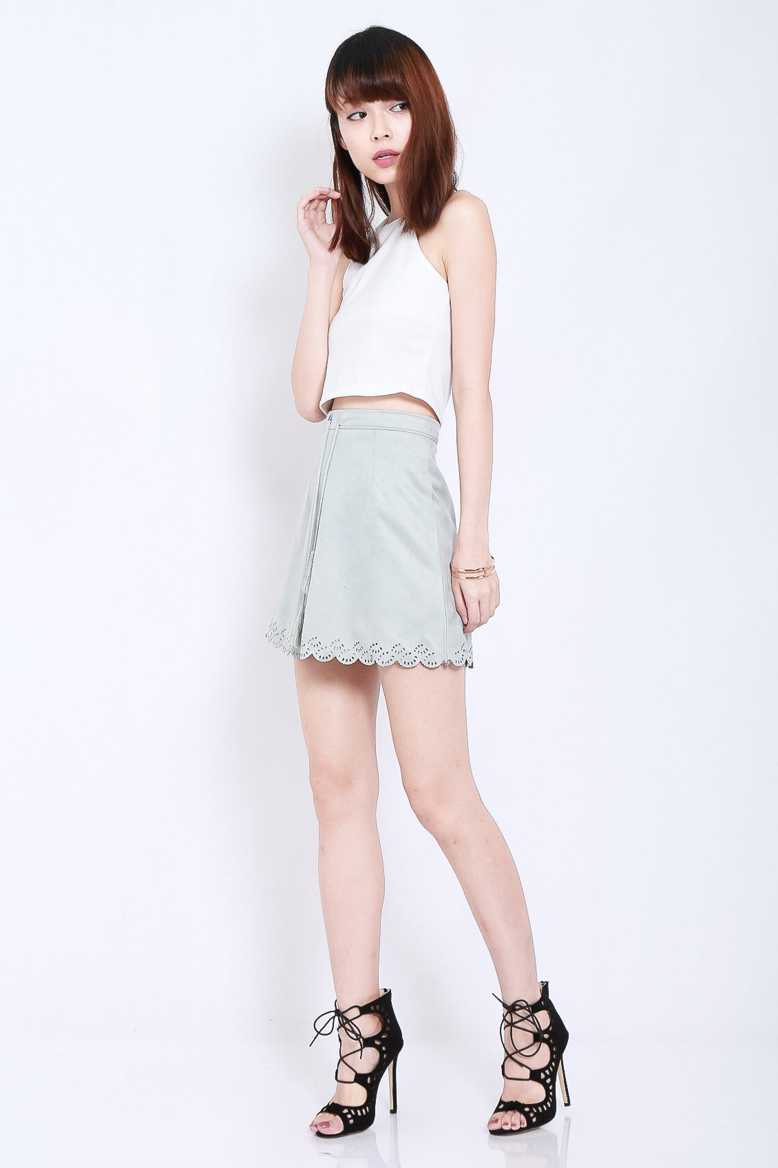 LASERCUT SCALLOP SUEDE SKIRT IN GREY