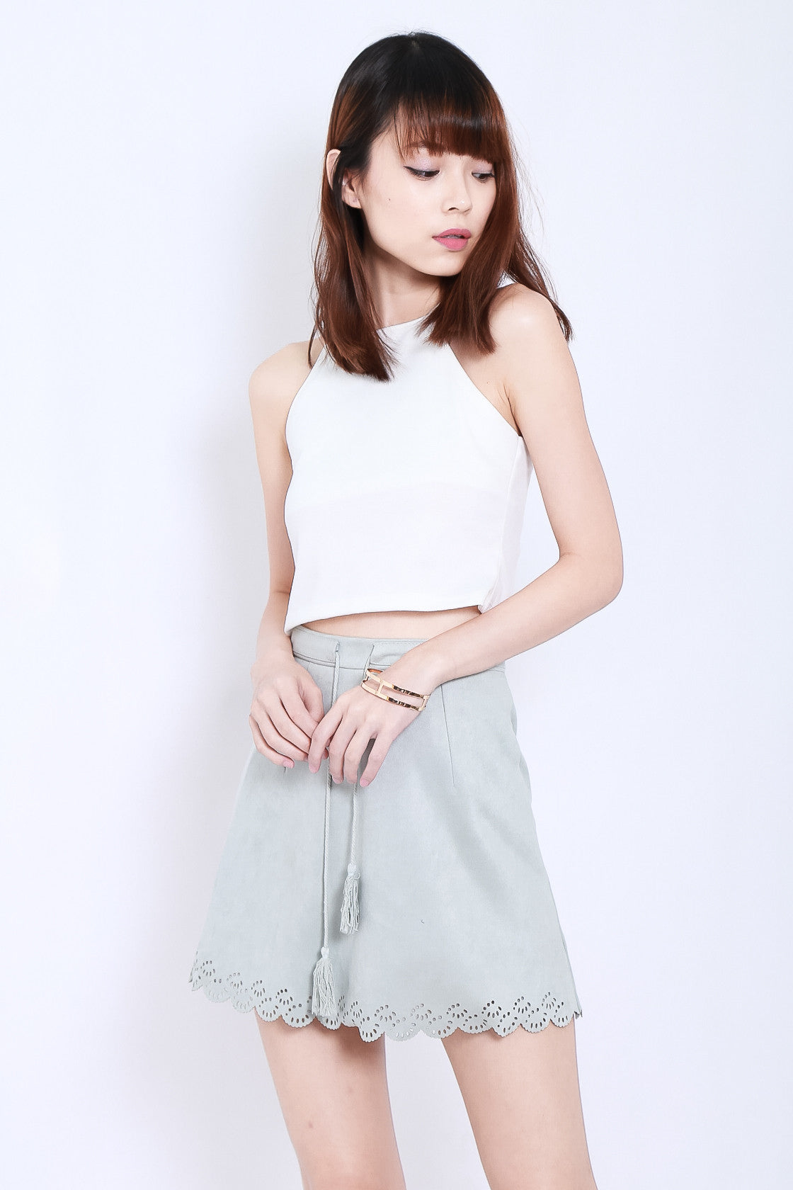 e980a43cc LASERCUT SCALLOP SUEDE SKIRT IN GREY - TOPAZETTE