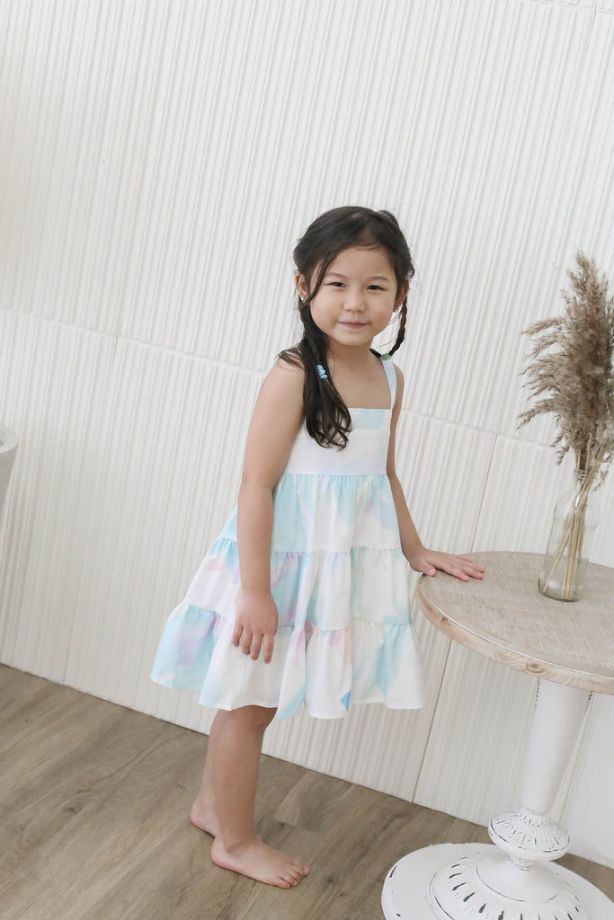 *LITTLE TOPAZETTE* THE WATERCOLOUR ART TIER DRESS IN WHITE