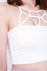 WEBBED CROP TOP IN WHITE