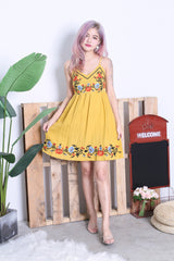 *RESTOCKED* SOLEIL EMBROIDERY DRESS IN MUSTARD