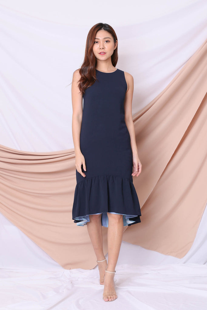 *TPZ* (PREMIUM) ELIS REVERSIBLE ASYMMETRICAL DRESS IN BLUE/ NAVY