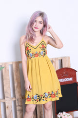 SOLEIL EMBROIDERY DRESS IN MUSTARD