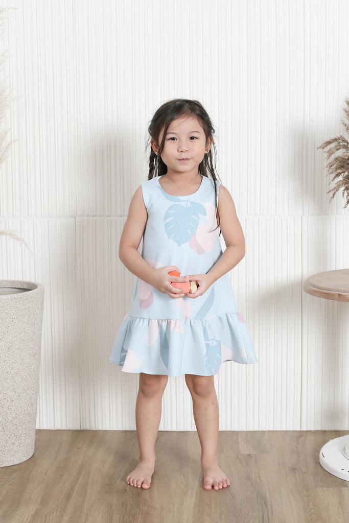 *LITTLE TOPAZETTE* PASTEL DREAMS DROP WAIST DRESS IN PASTEL BLUE