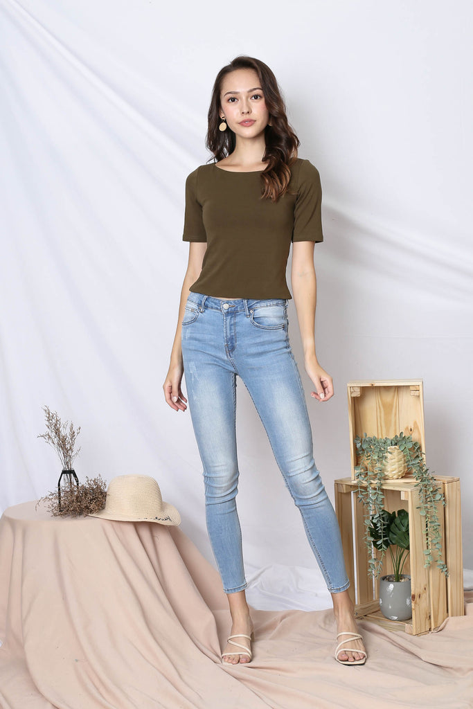 *TPZ* (PREMIUM) NERVANA SLEEVED BASIC TOP IN OLIVE