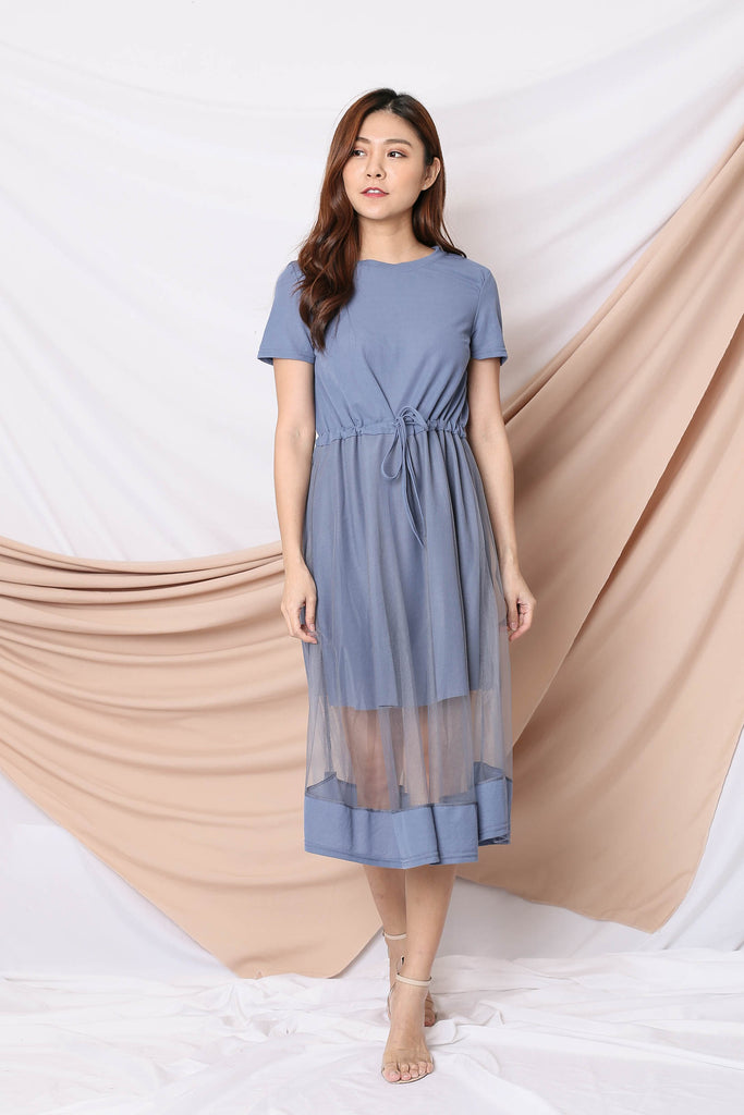 YERA TULLE TEE DRESS IN STALE BLUE