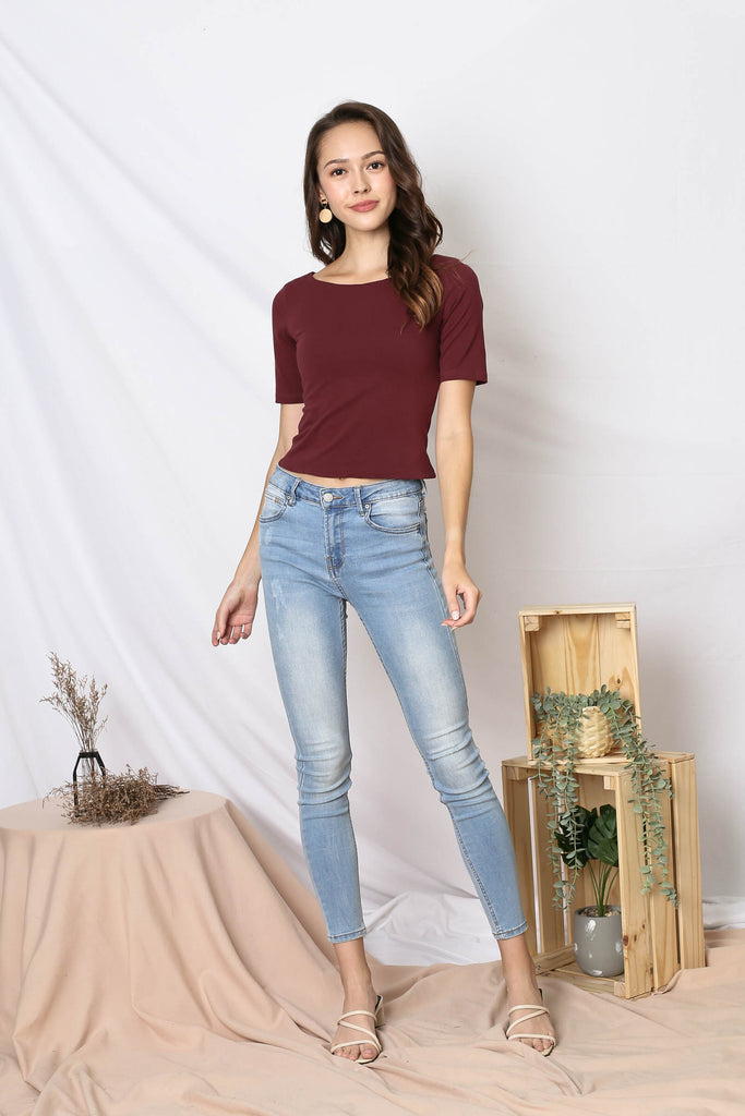 *TPZ* (PREMIUM) NERVANA SLEEVED BASIC TOP IN BURGUNDY