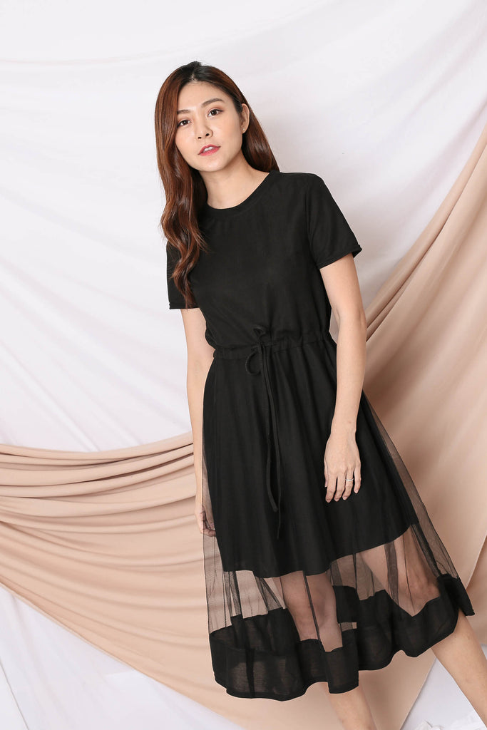 YERA TULLE TEE DRESS IN BLACK