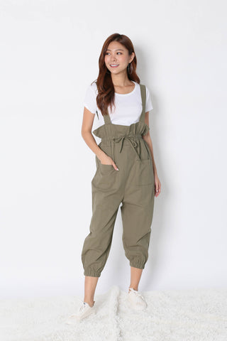 NESSA 2 PC DUNGAREE JUMPSUIT SET IN OLIVE