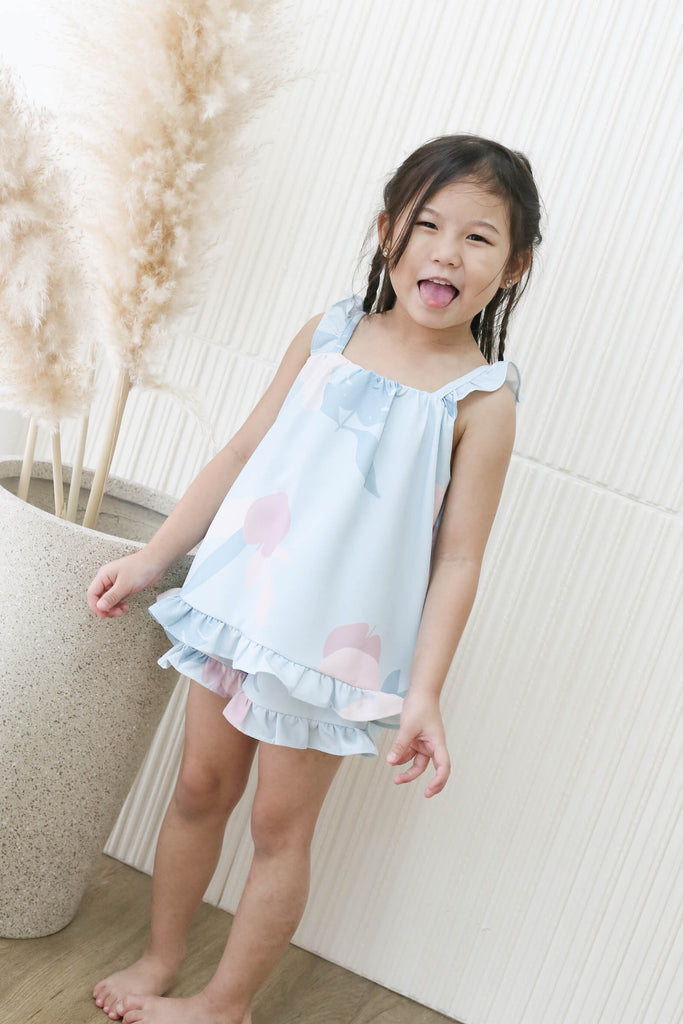 *LITTLE TOPAZETTE* PASTEL DREAMS 2 PC GIRLS SET IN PASTEL BLUE