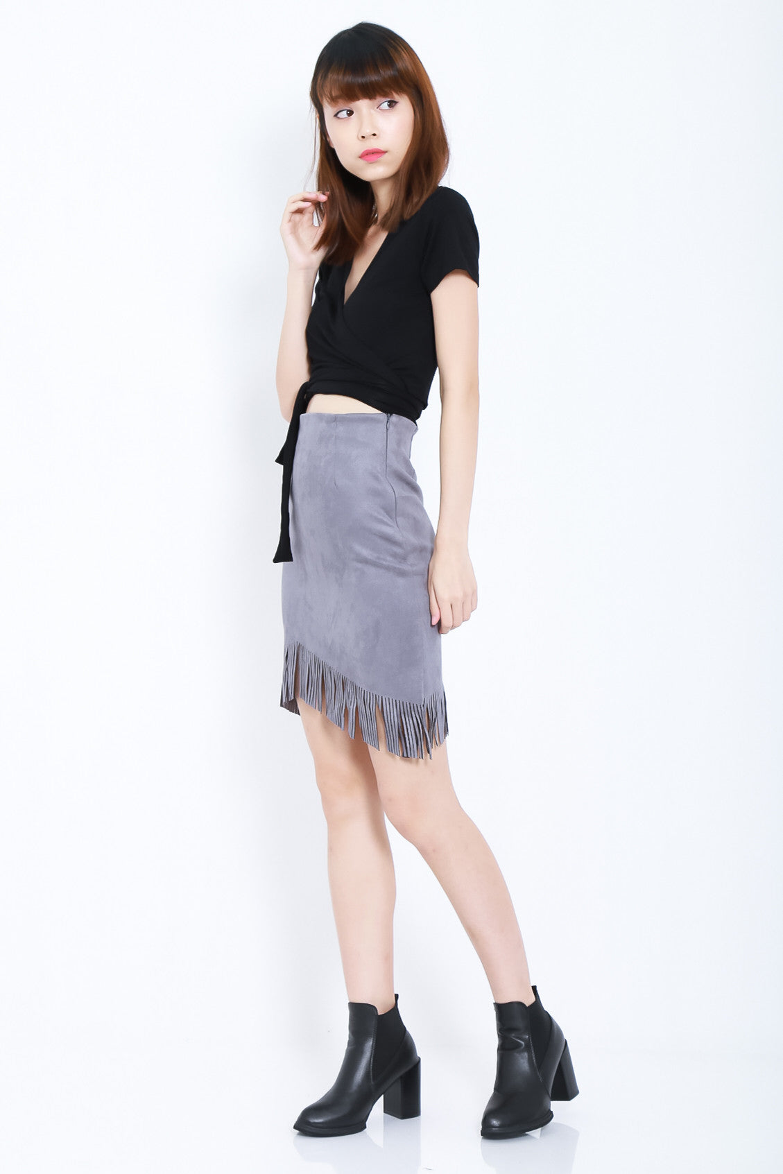 SUEDE FRINGE SKIRT IN GREY