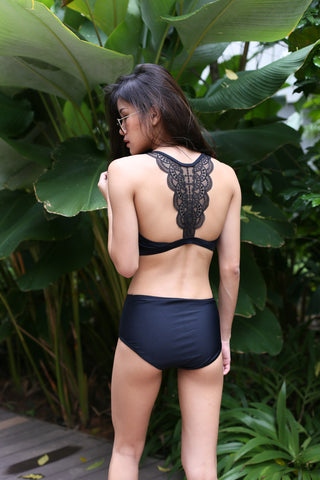 AZURE LACE BACK BIKINI SET (BLACK)