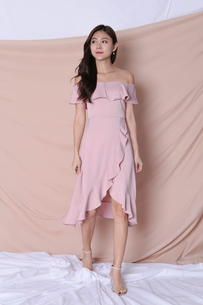 *TPZ* (PREMIUM) HEBE DRESS IN DUSTY PINK - TOPAZETTE