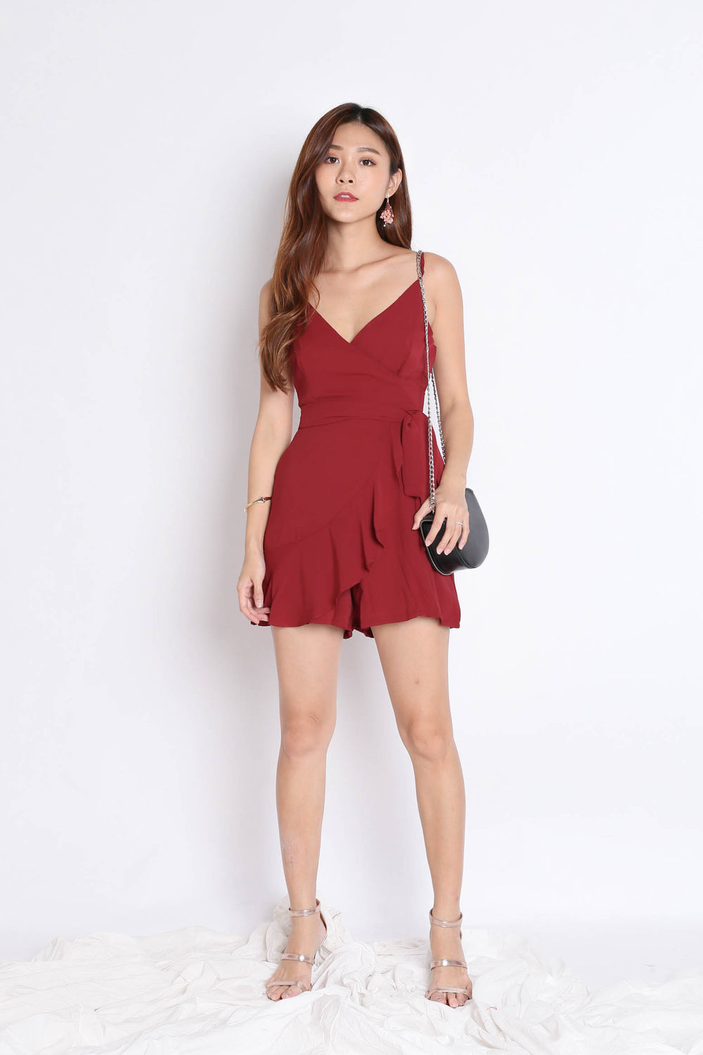 *TPZ* (PREMIUM) MYLA ROMPER DRESS IN BURGUNDY