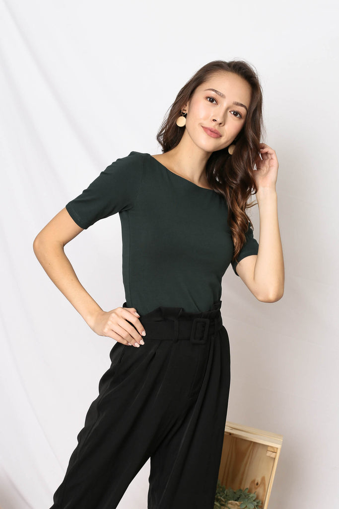 *TPZ* (PREMIUM) NERVANA SLEEVED BASIC TOP IN FOREST
