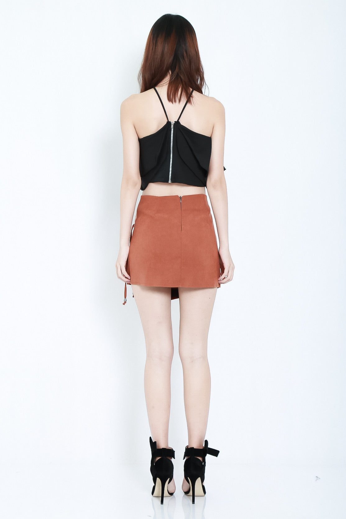 ASYMMETRICAL LACED UP SKIRT IN KHAKI - TOPAZETTE