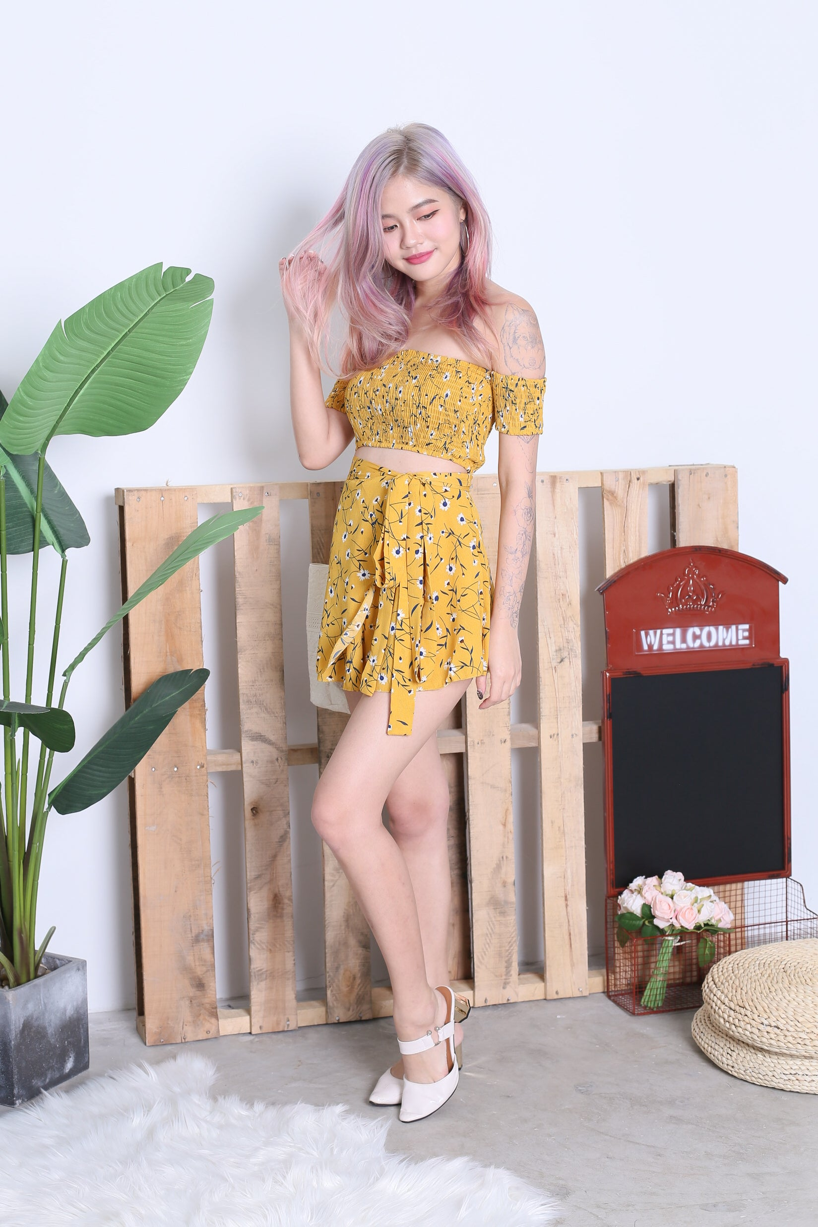 FLORAL SMOCKED TOP AND WRAP SKIRT SET IN MUSTARD