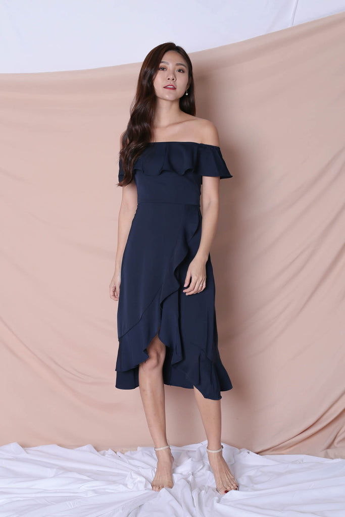 *TPZ* (PREMIUM) HEBE DRESS IN NAVY - TOPAZETTE