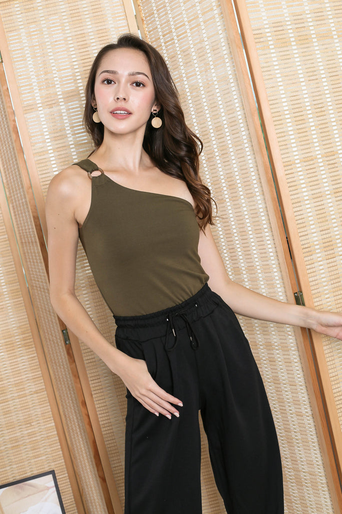 *TPZ* (PREMIUM) TYRA BUCKLE TOGA TOP IN OLIVE
