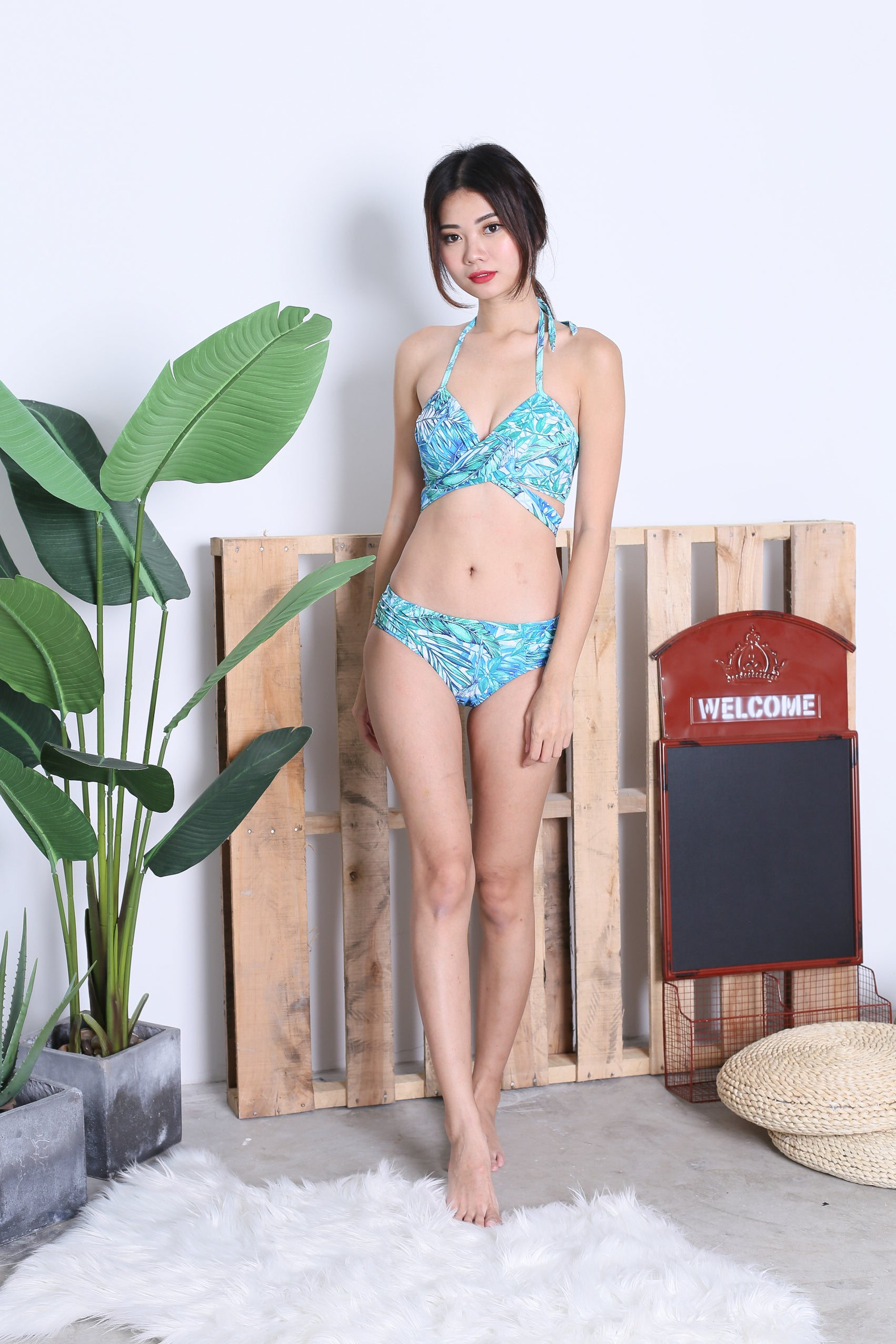 CLASSIC CROSS WRAP BIKINI SET (RESORT LEAVES)