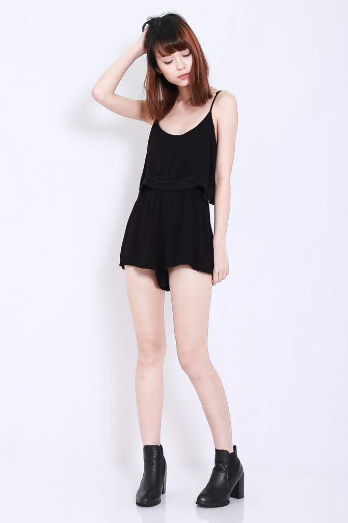 *TOPAZ* RESORT BOHO ROMPER IN BLACK - TOPAZETTE