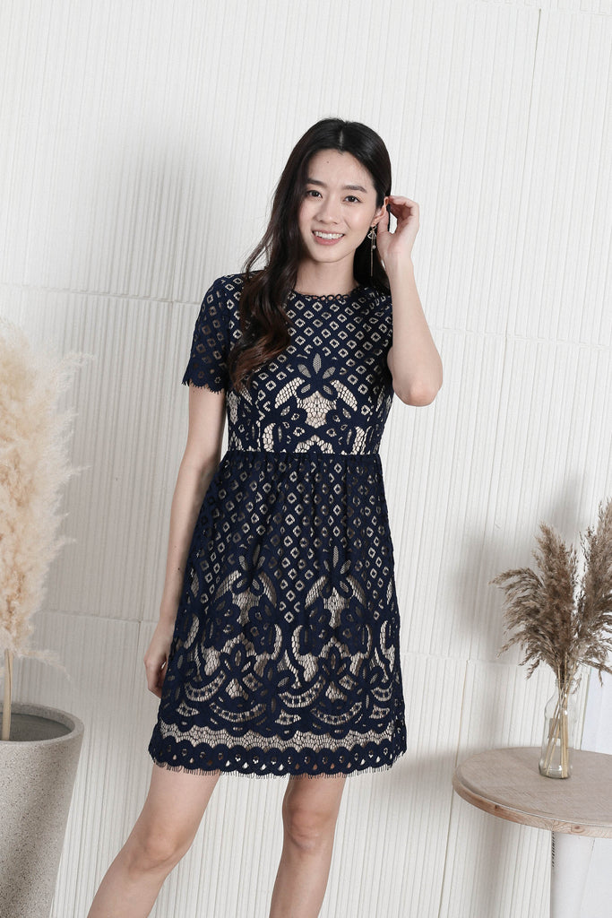 *TPZ* VICTORIAN EYELET LACE DRESS IN NAVY