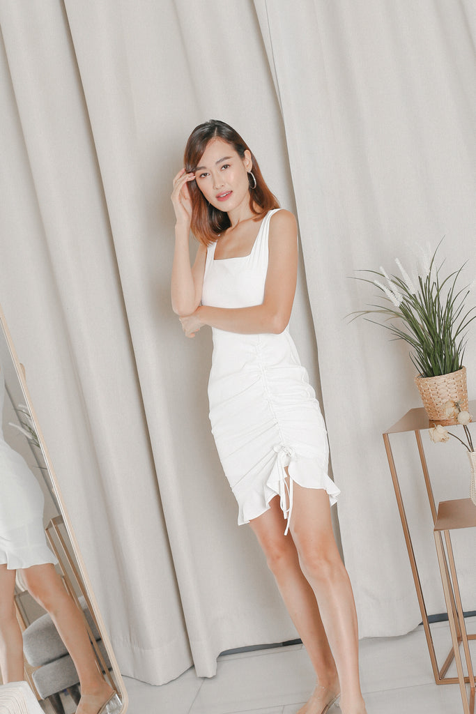 *TPZ* ZOLA RUCHED DRESS IN WHITE