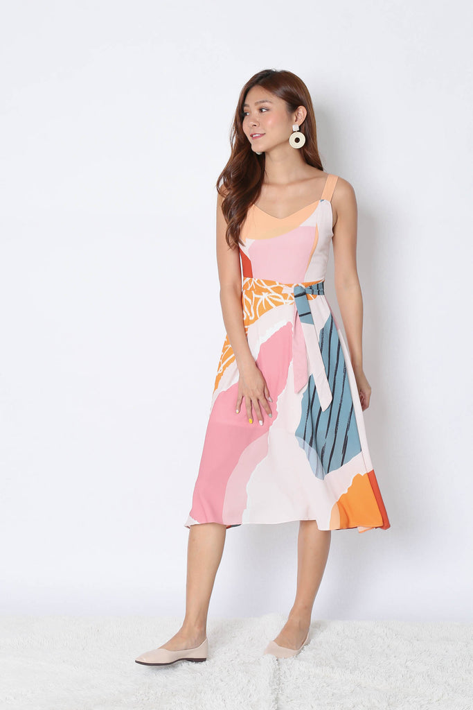 (PREMIUM) FERYN ABSTRACT SKATER DRESS (PINK BASE) - TOPAZETTE