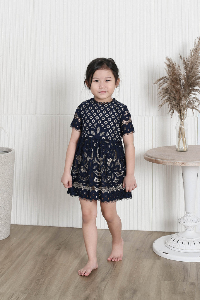 *LITTLE TOPAZETTE* VICTORIAN EYELET LACE DRESS IN NAVY