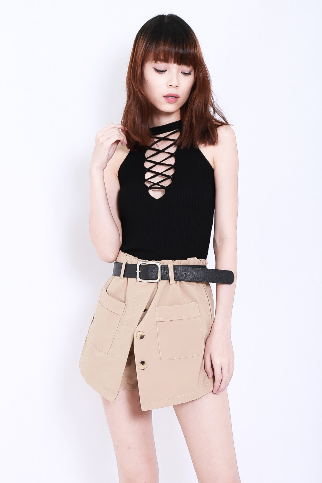 RIBBED REVERSIBLE LACE TOP IN BLACK