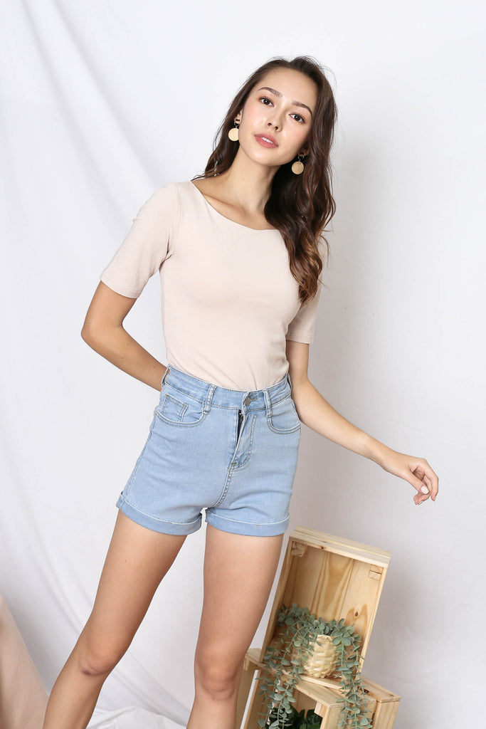 *TPZ* (PREMIUM) NERVANA SLEEVED BASIC TOP IN SAND