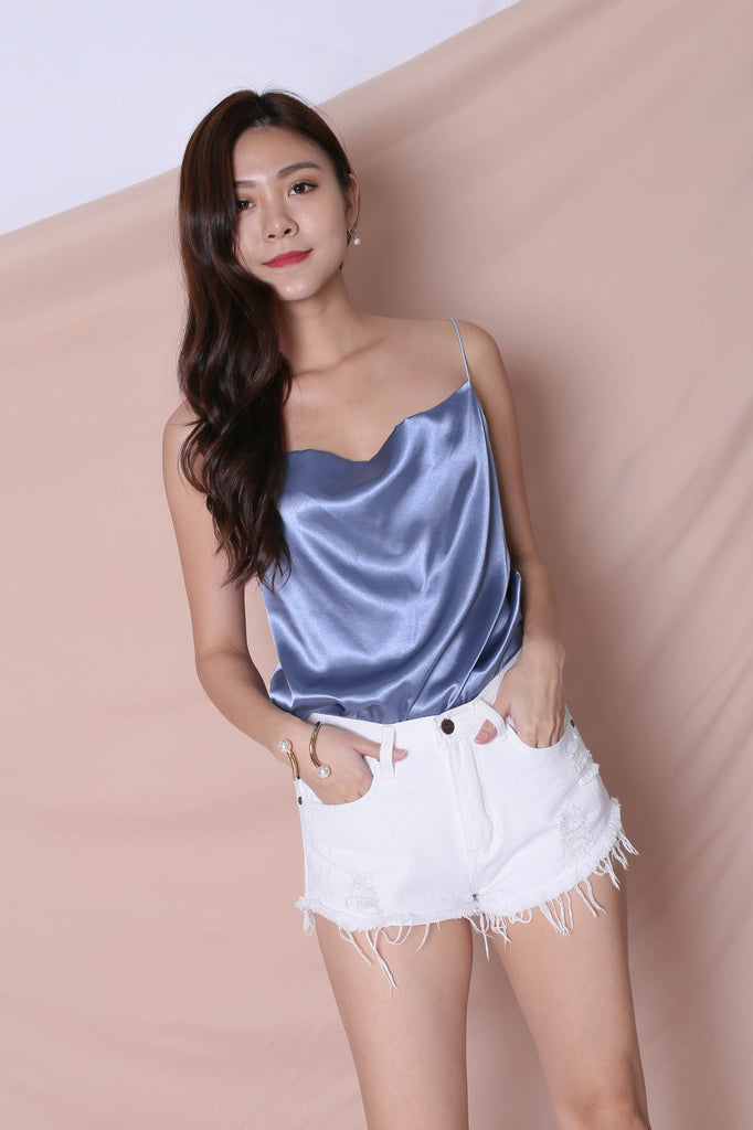 *BACKORDER* BASIC COWL NECK TOP IN BLUE