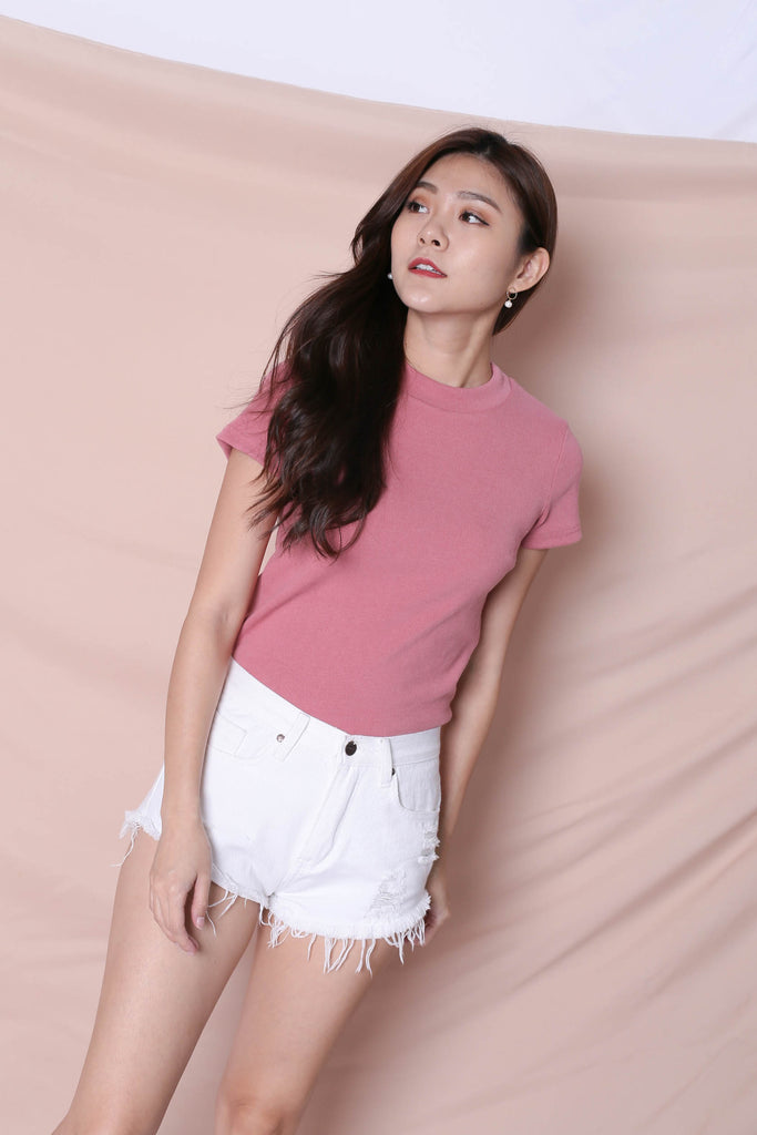 *TPZ* YOUR BASIC KNIT TOP IN PINK