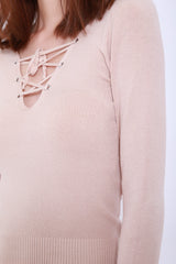 SOFT SNUG KNIT TOP IN TAUPE