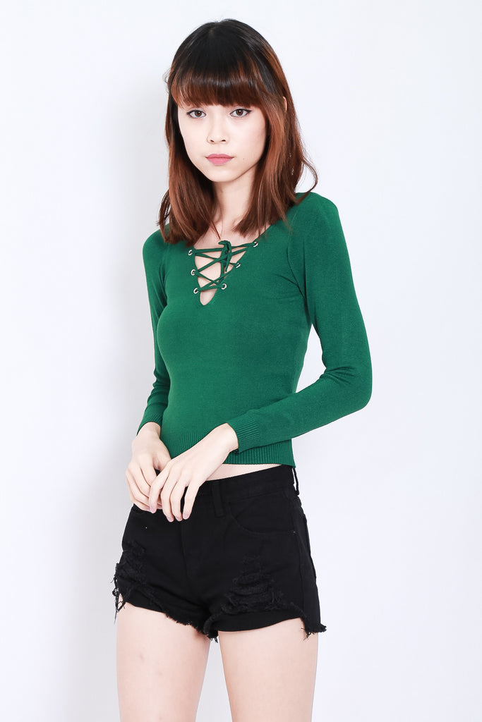 SOFT SNUG KNIT TOP IN FOREST - TOPAZETTE
